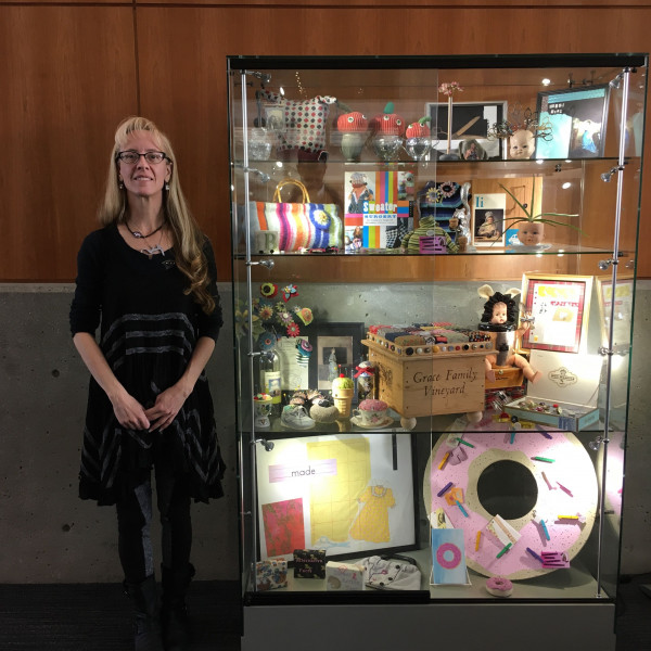 stefanie L. Girard, Art, collage, art exhibit, gallery case, Glendale Library